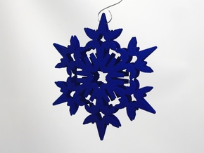 Wings Snowflake - 3D in Blue Processed Versatile Plastic