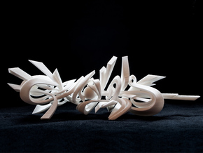 Genghis / 3D Style Writing / Sculptural Graffiti in White Natural Versatile Plastic