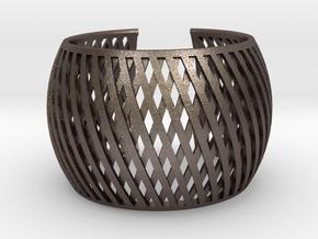 Bracelet Brace line  in Polished Bronzed Silver Steel