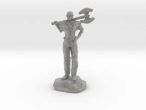 Half Elf Barbarian Woman with Great Axe in Metallic Plastic