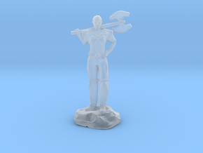 Half Elf Barbarian Woman with Great Axe in Smooth Fine Detail Plastic