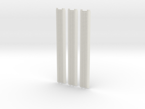 N-Scale 3x Railroad Section Unbalast in White Natural Versatile Plastic