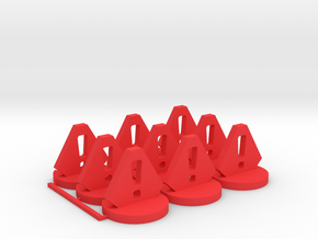 Stress Tokens in Red Processed Versatile Plastic