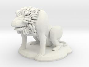 Fu Lion Figure in White Natural Versatile Plastic