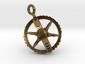 Compass Gyroscope Pendant in Natural Bronze