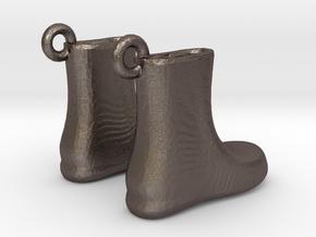 Boots Earrings in Polished Bronzed Silver Steel