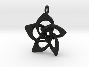 Petal Rings 5 Points - 2.5cm - wLoopet in Black Natural Versatile Plastic