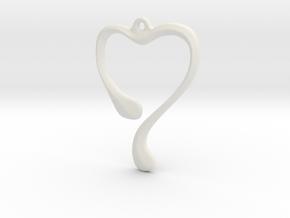 Heart shape pendant in White Natural Versatile Plastic