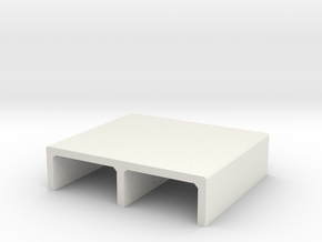 H0 Box Culvert Double Tube Half Height (size 2) in White Natural Versatile Plastic