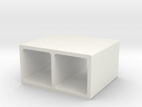 H0 Box Culvert Double Tube (size 2) in White Natural Versatile Plastic