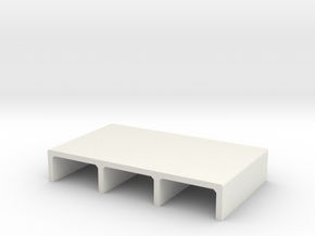 H0 Box Culvert Triple Tube Half Height (size 2) in White Natural Versatile Plastic