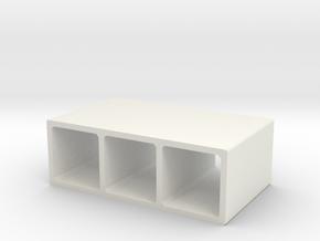H0 Box Culvert Triple Tube (size 2) in White Natural Versatile Plastic