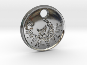 ZWOOKY Style 100 Sample - keychain moon wolve in Fine Detail Polished Silver