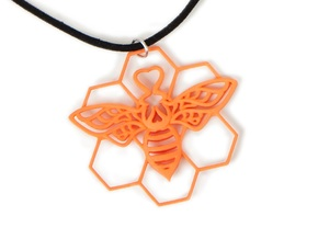 The Bee Pendant in Orange Strong & Flexible Polished