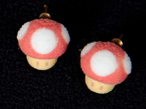 Super Mario Mushrooms Earrings in Full Color Sandstone