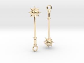 Spiked Mace Earrings in 14K Yellow Gold