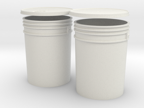1:6 Scale 5 gal Buckets in White Natural Versatile Plastic