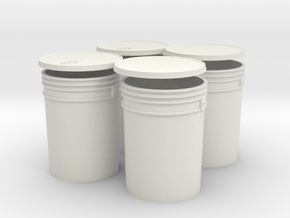 1:6 Scale 5 gal Buckets 4X set in White Strong & Flexible