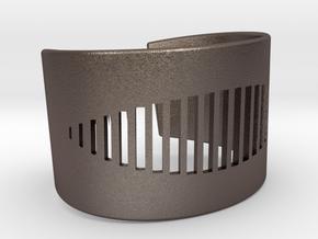 Wristcuff - pattern cutout (small) in Polished Bronzed Silver Steel