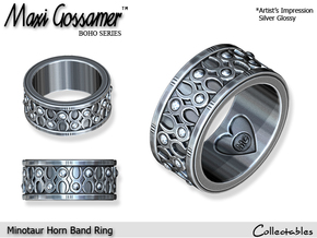 Minotaur Horn Ring in Polished Silver