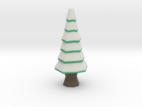 Low-Poly Snowy Tree [3.3 in] in Full Color Sandstone