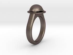 Ladybird Ring (18/8) in Polished Bronzed Silver Steel