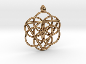 FEMININE SEED OF LIFE PENDANT  in Polished Brass