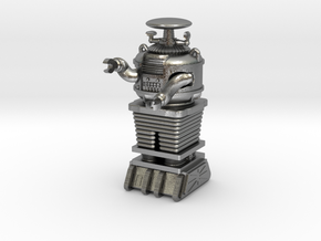 """1.22 inch Bot X-97-B9-D5 in""""Frosted Ultra Detail""""  in Raw Silver"""