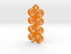 Spiral Pendant in Orange Processed Versatile Plastic