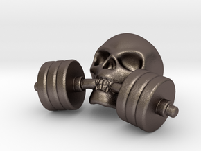 Training-Reminder - Skull with Dumbbell in Polished Bronzed Silver Steel
