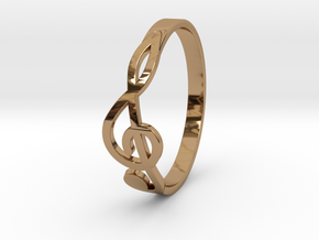 Size 8 G-Clef Ring  in Polished Brass