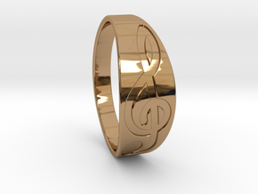 Size 11 M G-Clef Ring Engraved in Polished Brass