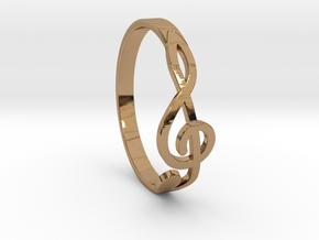 Size 6 G-Clef Ring  in Polished Brass