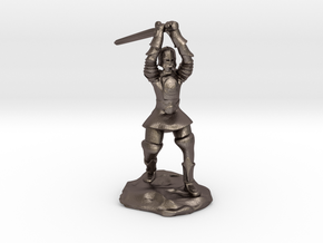 Human Paladin Zealot of Pelor With Longsword in Polished Bronzed Silver Steel