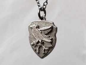 Ravenclaw Crest Necklace in Polished Bronzed Silver Steel