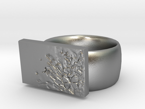 Flower  Ring Version 7 in Natural Silver