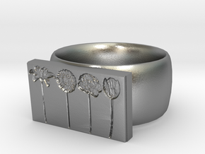 Flower Ring Version 9 in Natural Silver