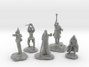 Sorcerer, Bard, Cleric, Paladin, and Rogue in Metallic Plastic