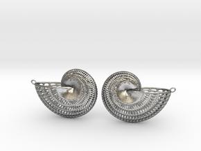 Nautilus Earring Pair (2 earrings) in Natural Silver