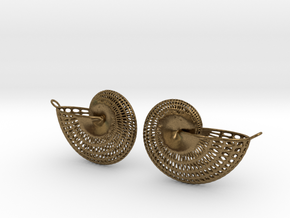 Nautilus Earring Pair (2) with attachment loop in Natural Bronze