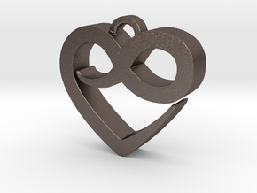 Infini Heart Necklace in Polished Bronzed Silver Steel