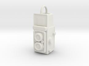 Twin-lens-pendant in White Natural Versatile Plastic