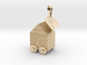 10mm-Scale Trojan Rabbit in 14K Yellow Gold