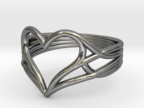 Woven Heart Ring - Larger (Size 7) in Fine Detail Polished Silver