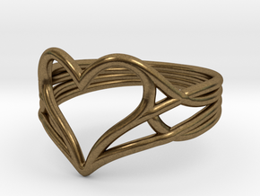 Woven Heart Ring - Larger (Size 7) in Natural Bronze