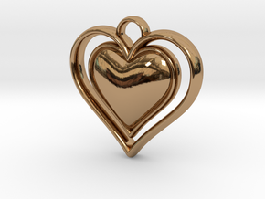 Framed Heart Pendant in Polished Brass