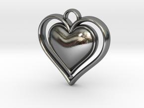 Framed Heart Pendant in Polished Silver
