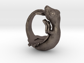 Gecko Size10 in Polished Bronzed Silver Steel