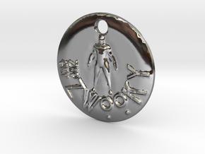 ZWOOKY Style 300 - pendant man in Fine Detail Polished Silver