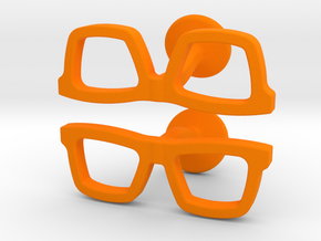 Hipster Glasses Cufflinks in Orange Processed Versatile Plastic